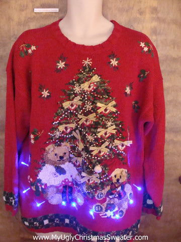 Red 80s Tree and Bear Christmas Sweater with Lights