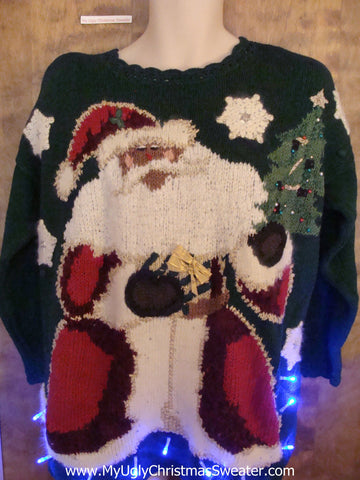 BEST 80s Huge Santa Christmas Sweater with Lights