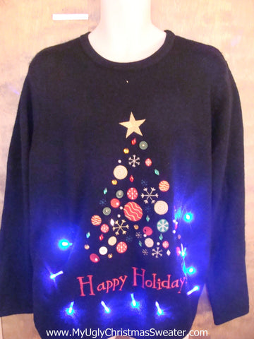 Happy Holidays Christmas Sweater with Lights