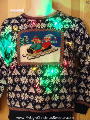 Nordic Children Sledding Christmas Sweater with Lights (g247)