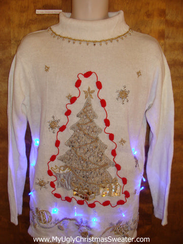 Crazy 80s Ivory Christmas Sweater with Lights
