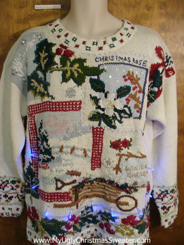 Crazy Winter Wonderland Christmas Sweater with Lights