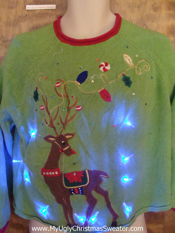 Lime Green Huge Reindeer Christmas Sweater with Lights