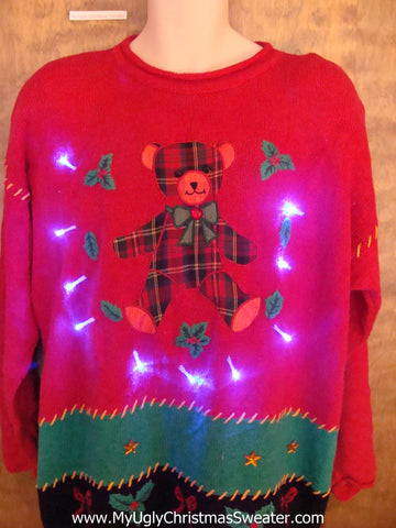 Cute Plaid Bear Crazy Christmas Sweater with Lights