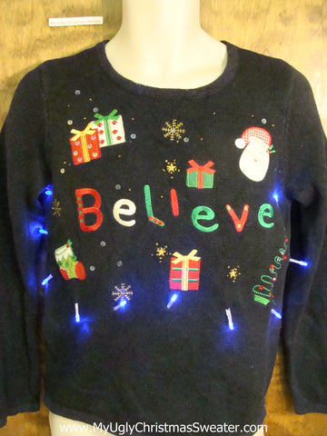 I BELIEVE Crazy Christmas Sweater with Lights