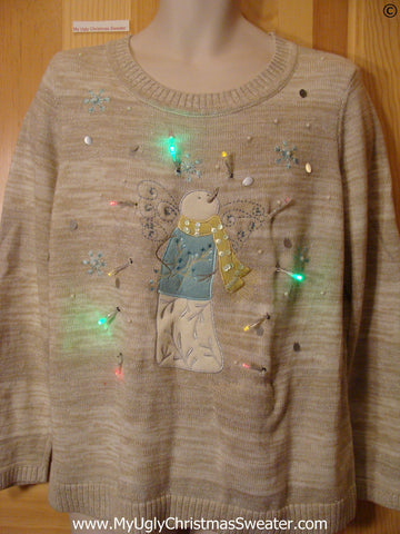Snowman Christmas Sweater with Lights (g248)