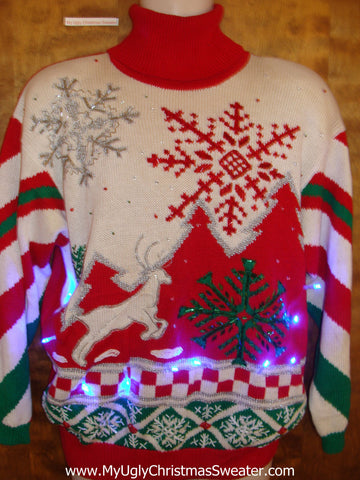 BEST 80s Festive Reindeer Christmas Sweater with Lights