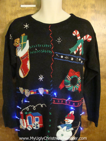 Toy Train and Candycanes Christmas Sweater with Lights