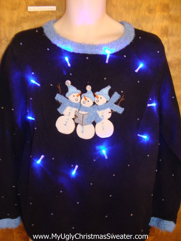 Snowman Trio Carolling Crazy Christmas Sweater with Lights