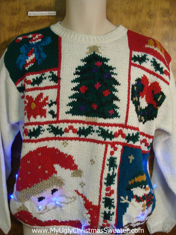 Crazy Santa and Tree Christmas Sweater with Lights