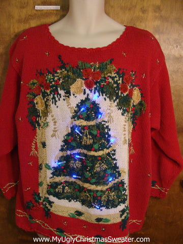 Festive Red Crazy Christmas Sweater with Lights