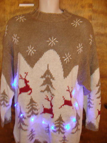 Light Up Ugly Xmas Sweater with Reindeer