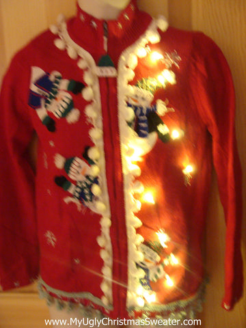 Tacky Ugly Christmas Sweater with Lights and Fringe. Peaking snowmen. 80s style padded shoulders.  (g24)