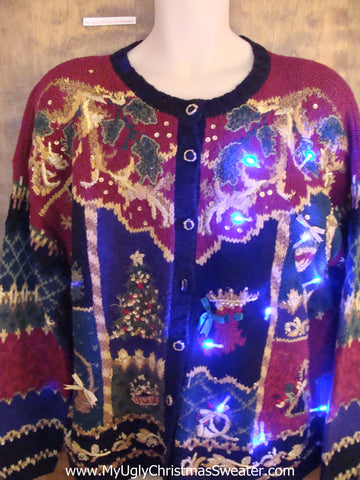 Horrific Mess of Color Light Up Cheesy Christmas Sweater