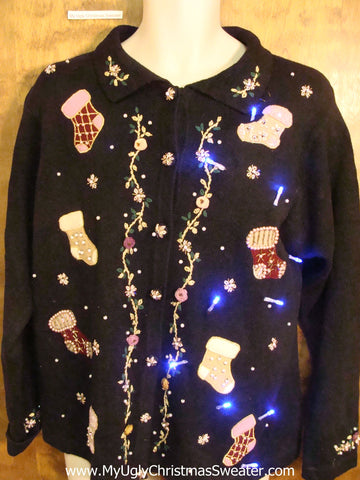 Holiday Stockings Light Up Cheesy Christmas Sweater