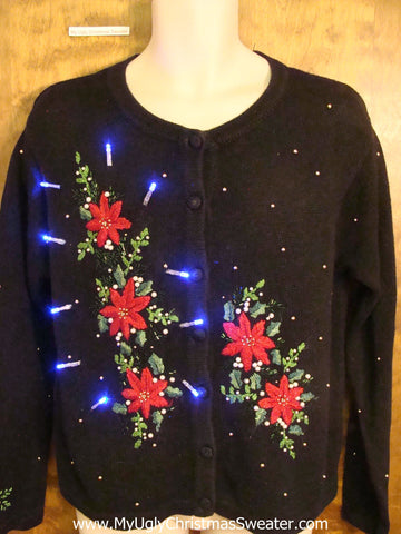 Five Red Poinsettias Light Up Cheesy Christmas Sweater