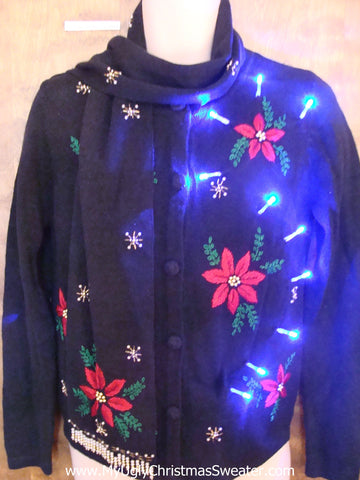 Light Up Cheesy Christmas Sweater with Scarf