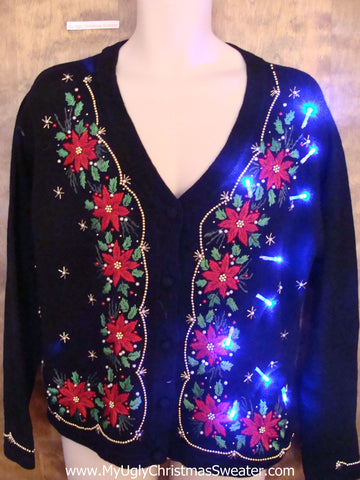 Light Up Cheesy Christmas Sweater with Poinsettias