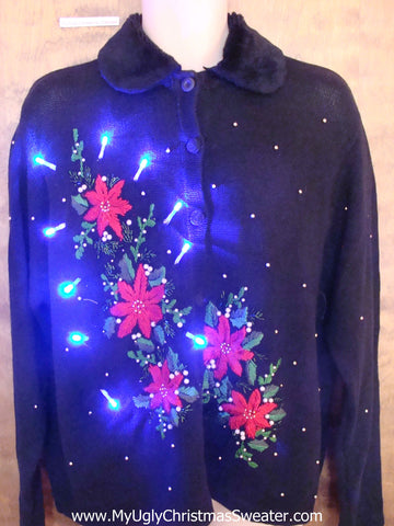 Poinsettias and Furry Collar Light Up Cheesy Christmas Sweater