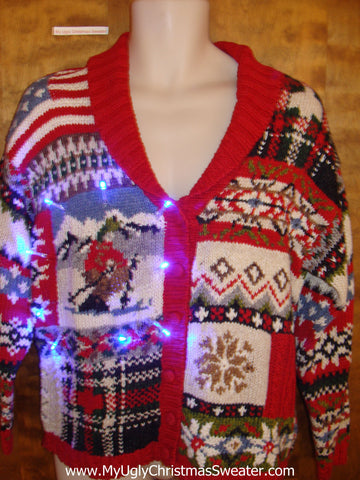 Vintage Style Patchwork Light Up Cheesy Christmas Sweater