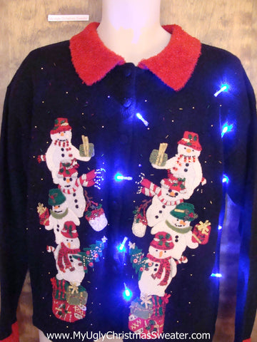 Stacks of Snowmen Light Up Cheesy Christmas Sweater