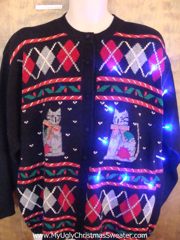 Crazy Cat Lady 80s Holiday Christmas Sweater