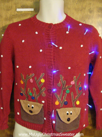 Child Fun Reindeer Light Up Cheesy Christmas Sweater