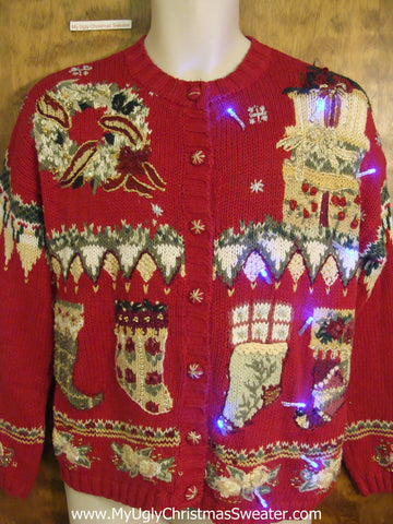 Gemetric Mess Light Up Cheesy Christmas Sweater