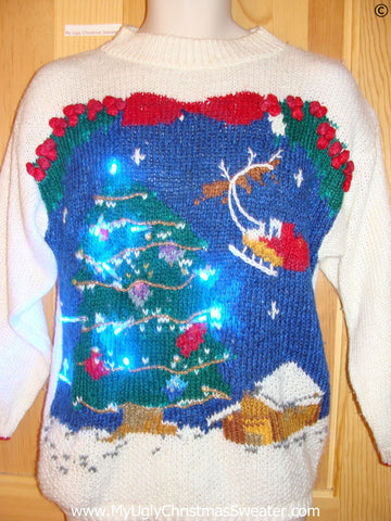 80s Christmas Sweater with Santa, Reindeer, Tree, and Lights (g251)