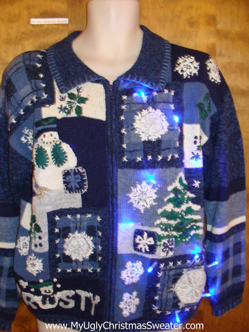 FROST Snowman Light Up Cheesy Christmas Sweater
