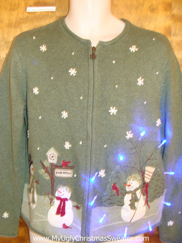 Light Up Green Cheesy Christmas Sweater with Snowmen