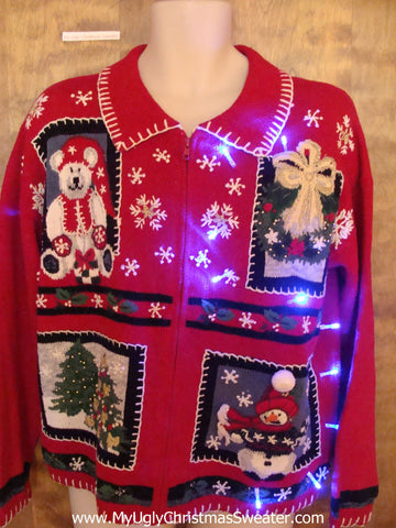 Cute Red 80s Light Up Cheesy Christmas Sweater