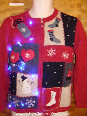 Cute Winter Sports Light Up Cheesy Christmas Sweater
