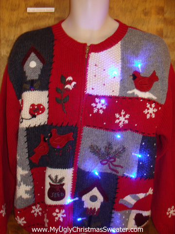 Tacky Red Cardinal Light Up Cheesy Christmas Sweater