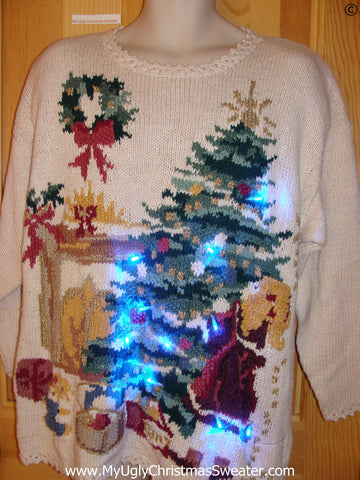 80s Christmas Sweater with Tree, Fireplace, and Lights (g252)
