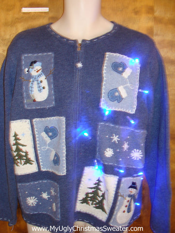 Blue 2sided Light Up Cheesy Christmas Sweater