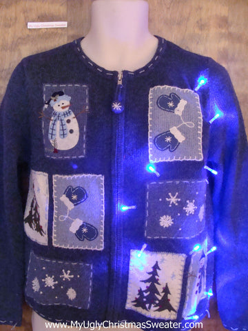Buel Tacky Christmas Sweater with Snowmen and Lights