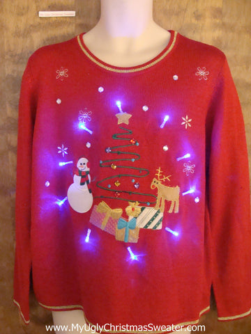 Cute Light Up Cheesy Christmas Sweater with Reindeer