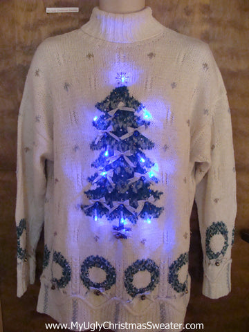 Ivory Tneck with Tree Light Up Cheesy Christmas Sweater