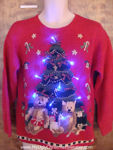 Tree and Bears Light Up Cheesy Christmas Sweater