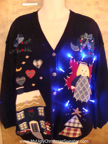 Crafty Angel 80s Light Up Cheesy Christmas Sweater