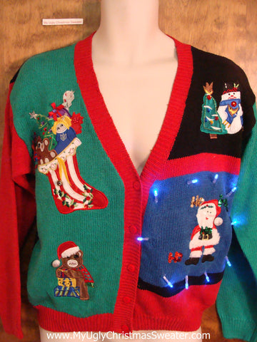 Colorful 80s Light Up Cheesy Christmas Sweater