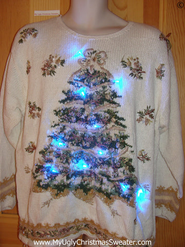 80s Christmas Sweater with Tree, Lights, Padded Shoulders (g253)
