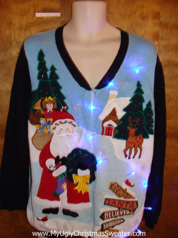 Flying Santa 2sided Light Up Cheesy Christmas Sweater