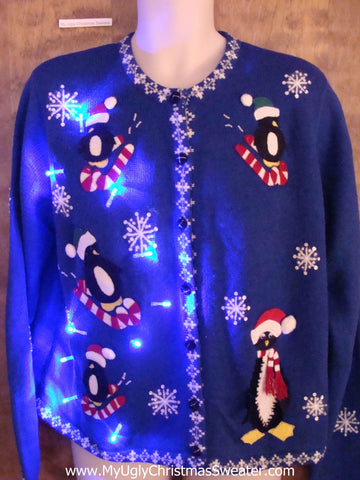 Cute Penguins Light Up Cheesy Christmas Sweater