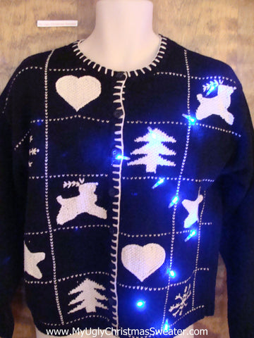 Reindeer and Hearts Light Up Cheesy Christmas Sweater