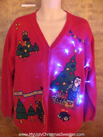 Lumberjack Santa Light Up Cheesy Christmas Sweater