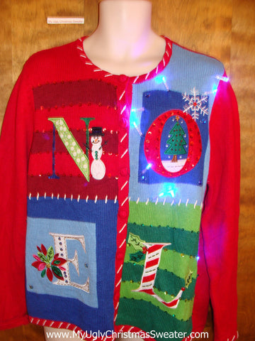 NOEL Colorful Light Up Cheesy Christmas Sweater