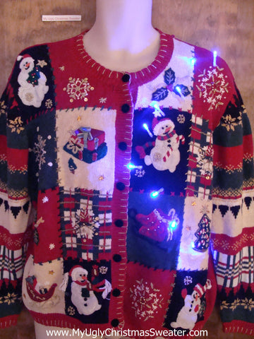 Busy Snowman Themed Light Up Cheesy Christmas Sweater