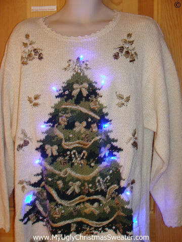 80s Retro Christmas Sweater with Tree and Lights (g254)